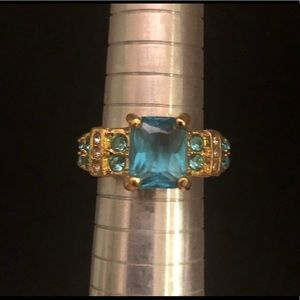 Jewelry - 🆕 Gold Toned Ring with Light Blue Stones